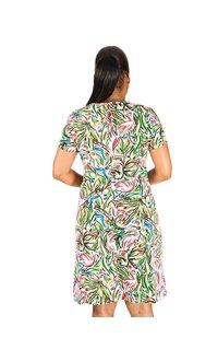 Embossed Printed Short Sleeve Dress