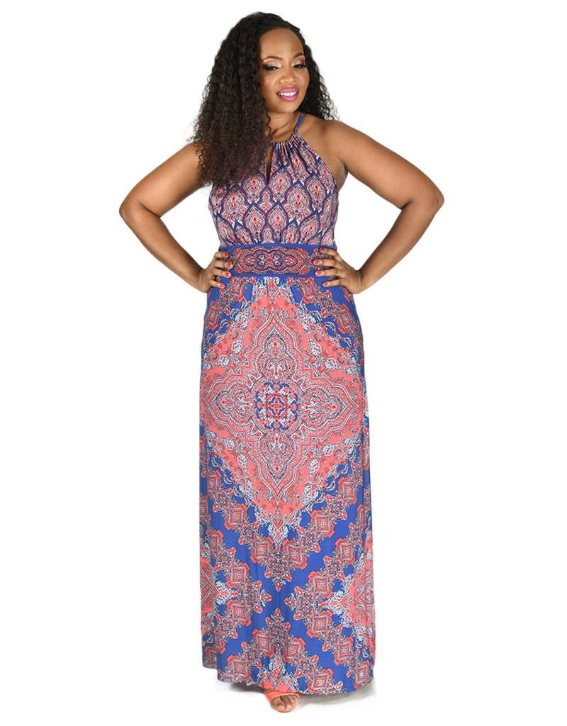 Printed ITY Halter Maxi Dress
