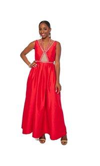 Full Length Bejeweled Halter Dress