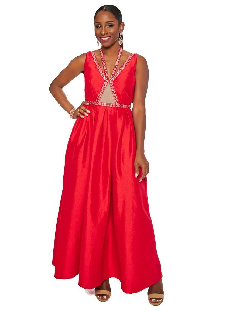 Full Length Bejeweled Halter Dress