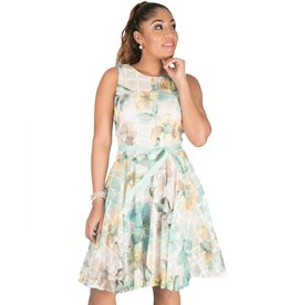 Printed Mesh Lace Dress With Band