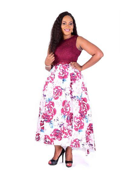 SUE-Lace Crop Top Two Piece Hi-Lo Gown