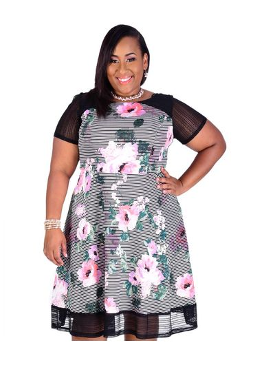 Plus Size Short Sleeve Printed Fit and Flare Dress