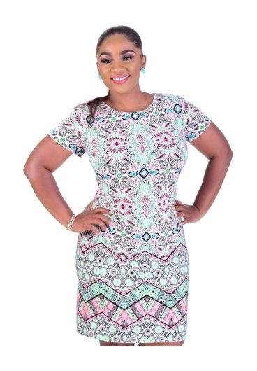 ILDOIKO-Plus Size Printed Midi Length Sheath Dress