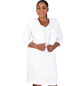 BERTHA-3/4 Sleeve Dress With Pearl @ Neck & Jacket