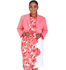 BARBARA-Printed Dress with Three Quarter Sleeve Jacket