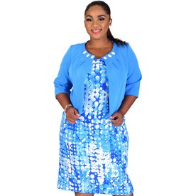 BERYL-Printed Dress with Three Quarter Sleeve Jacket