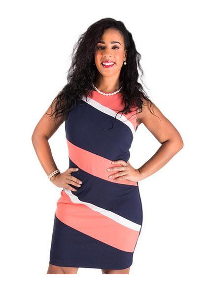 Printed Sleeveless Sheath Color Block Dress