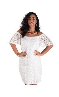 Signature Crochet Overlay Dress  With Elastic Shoulders