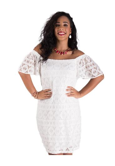 Signature Crochet Overlay Dress  With Elastic Shoulders