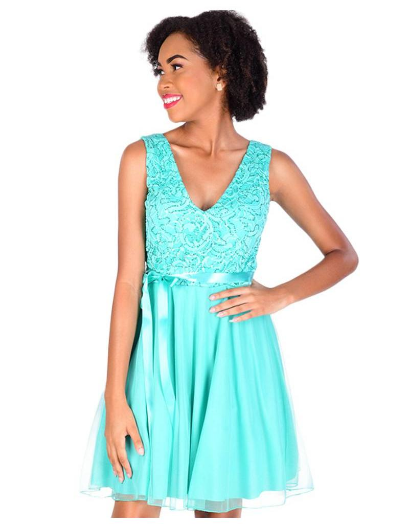 Petite Lace Top Fit and Flare Dress with Mesh Bottom
