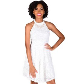 Petite Lace Halter Cocktail Dress with Jewel