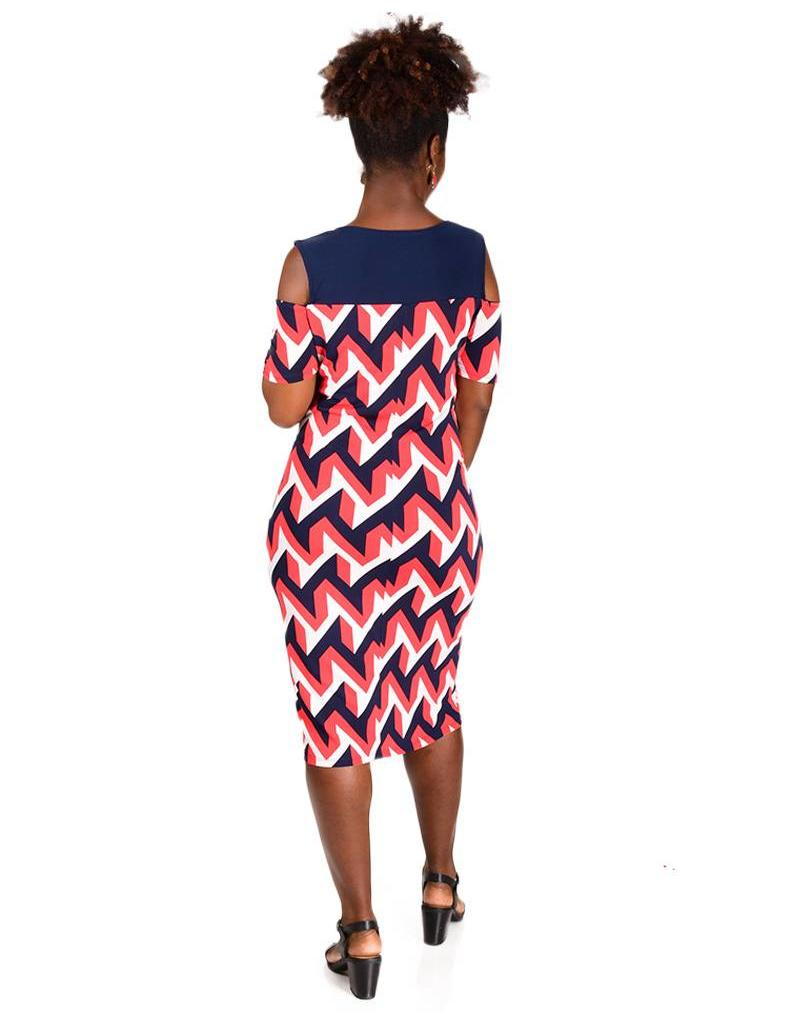 Geometric Print Cut out Shoulder Dress