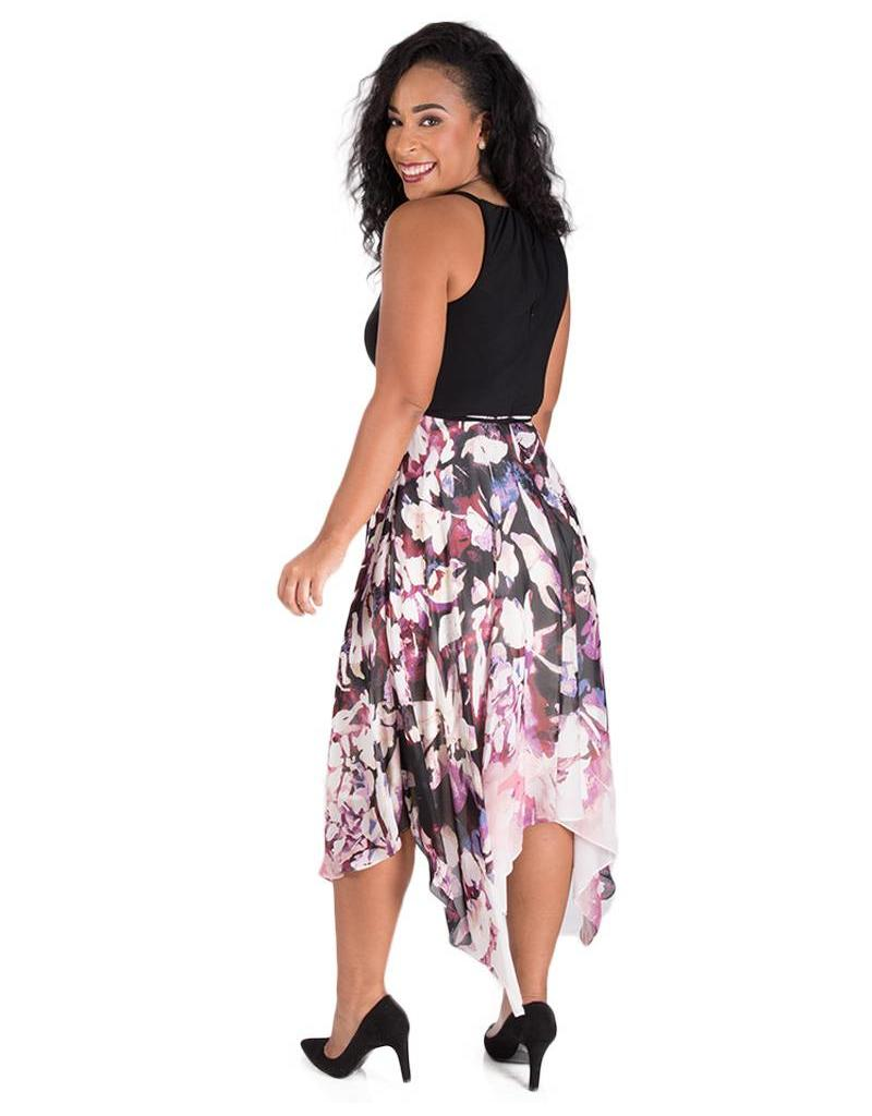 FARAH-Printed High Low  Halter Dress with Points
