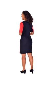 Shelby & Palmer RAMONA-V-Split @ Neck Short Sleeve Color Block Dress