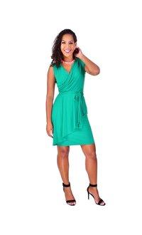 IMARA-Sleeveless Faux Wrap Dress