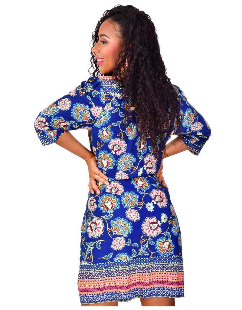 ILESHA-Printed Crossover 3/4 Sleeve Dress