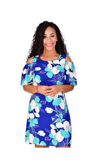 FARIA-Printed Dress Cold Shoulder Cut Outs