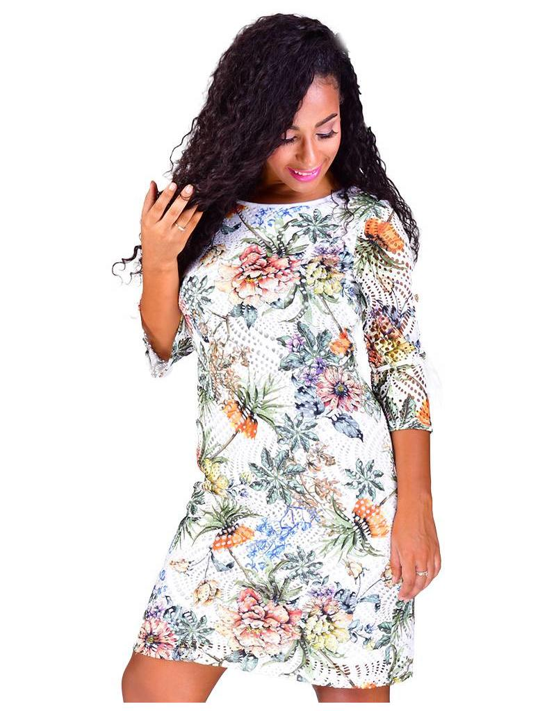 LARA-Printed Lace Three Quarter Sleeve Dress