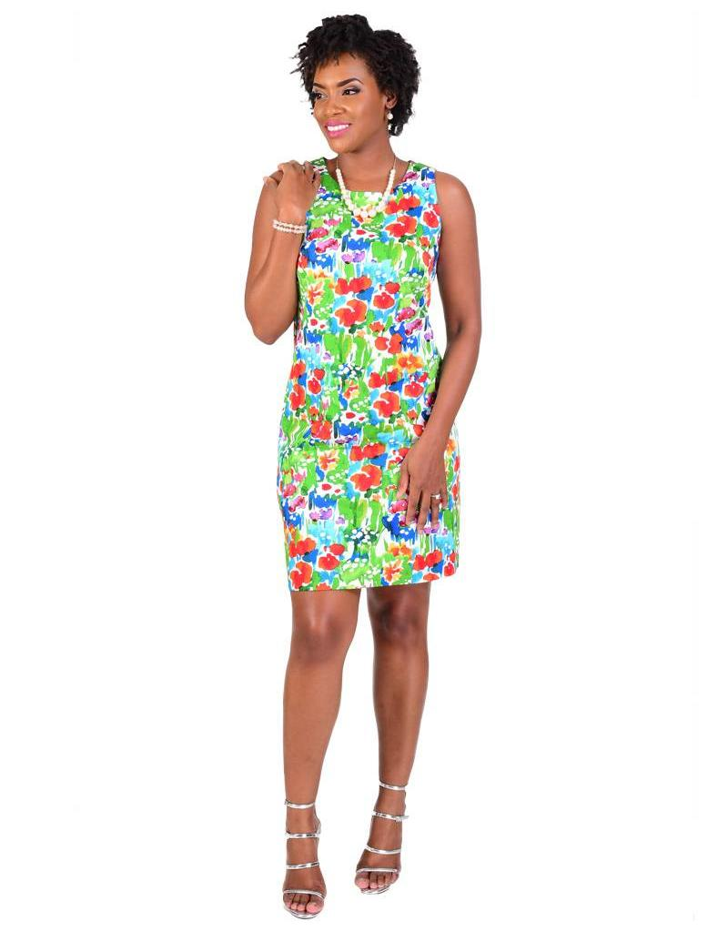 KIM-Printed Sleeveless Dress with Stripes @ Back