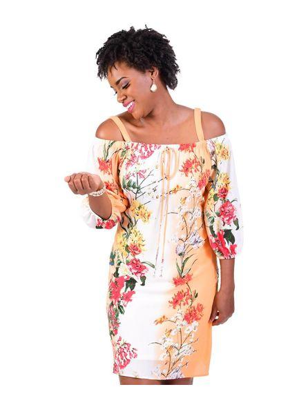 RANI-Floral Print Off the Shoulder 3/4 Sleeve Dress