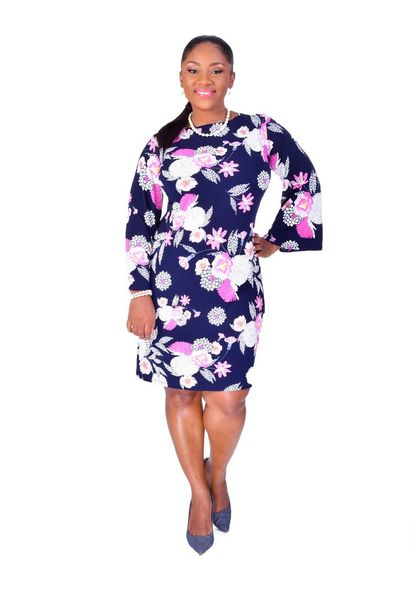 Shelby & Palmer IDONY-Plus Size Floral Puff Print Three Quarter Sleeve Dress
