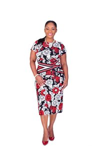 Shelby & Palmer BATYA-Plus Size Short Sleeve Print Dress