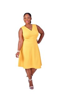 BABETTE-Plus Size V-Neck Seamed Fit and Flare Dress
