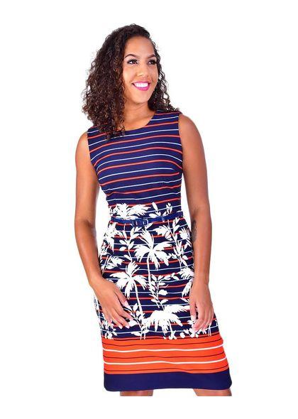 PANNA-Braod Strap Stripe Sheath Dress