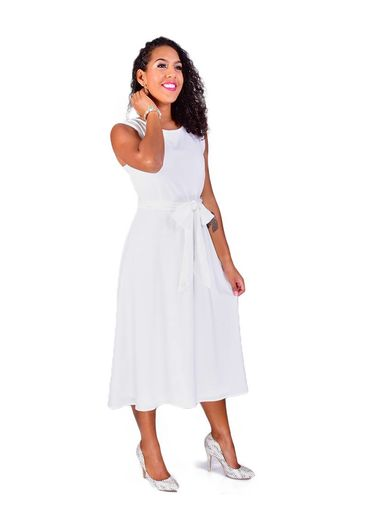 Shelby & Palmer RAYLAN-Sleeveless Fit and Flare Dress with Belt