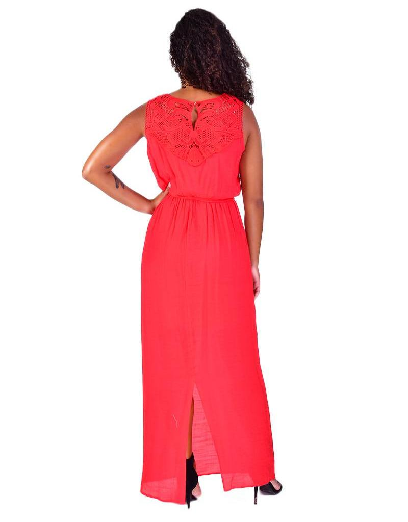 NADIA-Belted Maxi Dress with Lace Details