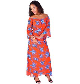 FAINE-Printed off the shoulder dress with Trumpet Sleeves