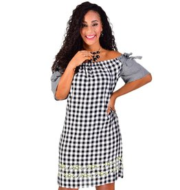 KACIA-Printed Short Sleeve Shift Dress