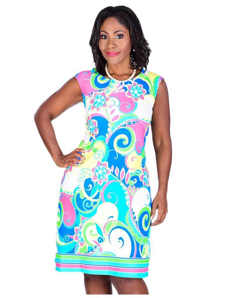 BIRCH-Cap Sleeve Print Dress