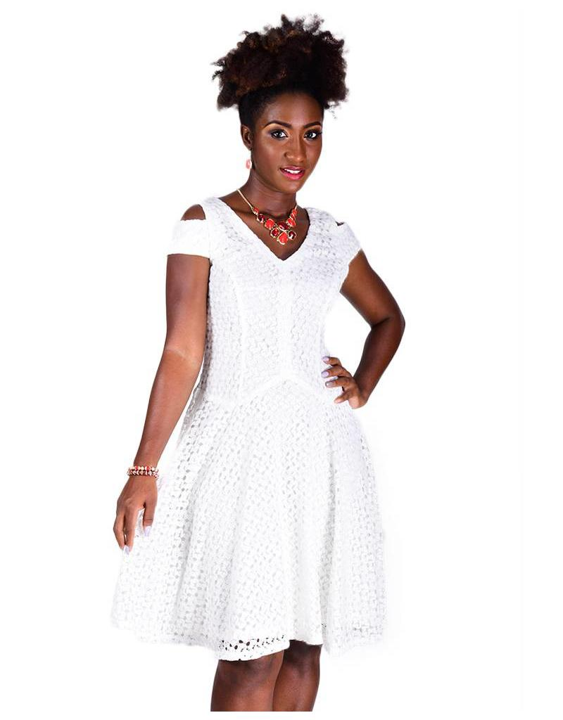 CANDICE-Lace Overlay Eyelet Dress with Cut Outs on the Shoulder