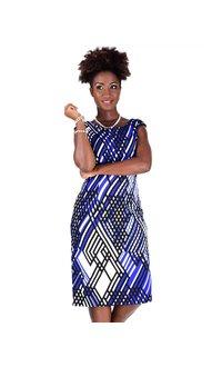 Printed Round Neck Sheath Dress