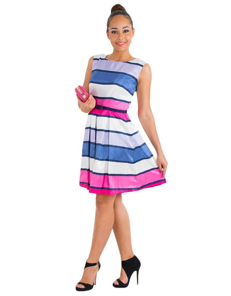 Striped Shantung Dress