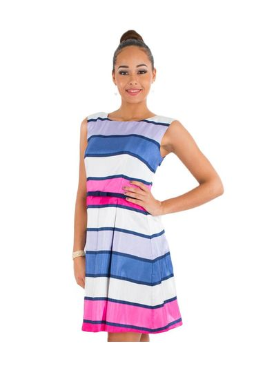 Striped Shantung Dress