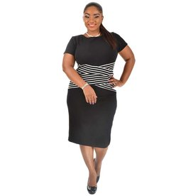Shelby & Palmer Plus Size Colour Block Short Sleeve Embossed Dress