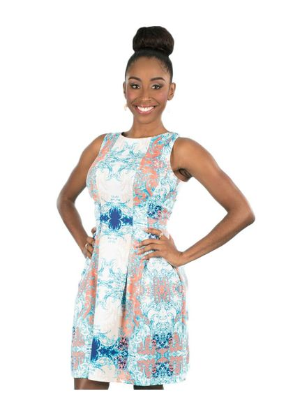 Voir Printed Fit and Flare Scuba Pleated Dress