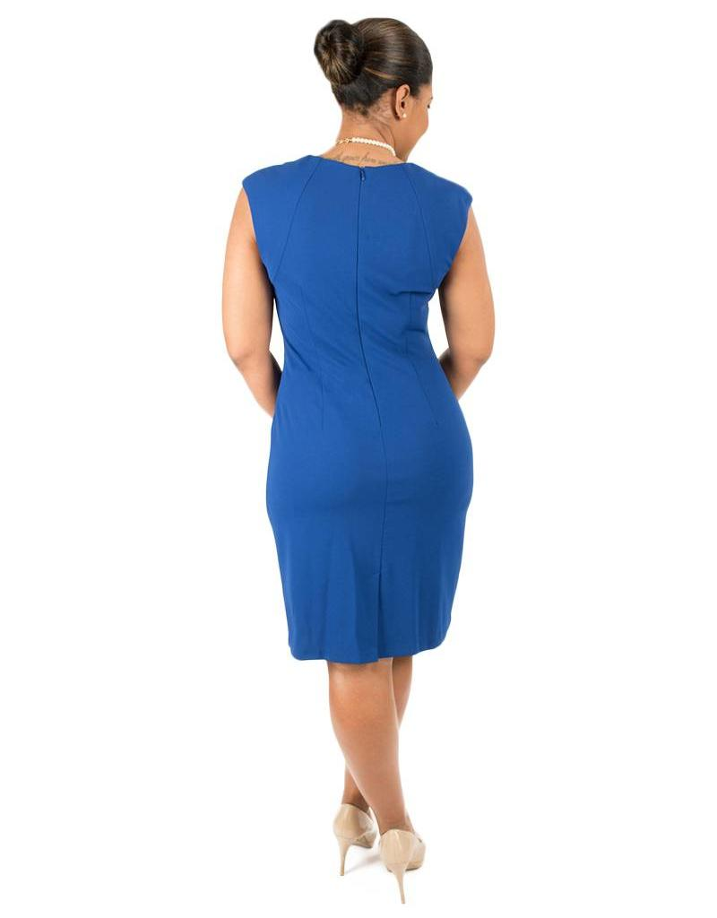 Faux Wrap Cut Out Neckline Armhole Dress