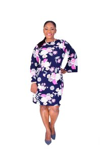 Shelby & Palmer IDONY-Floral Puff Print Three Quarter Sleeve Dress