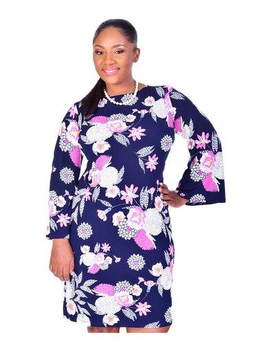 Shelby & Palmer IDONY-Floral Puff Print Three Quarter Sleeve Dress