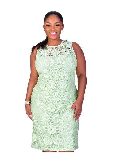 Nine West LESLEY-Lace Illusion Sleeveless Dress