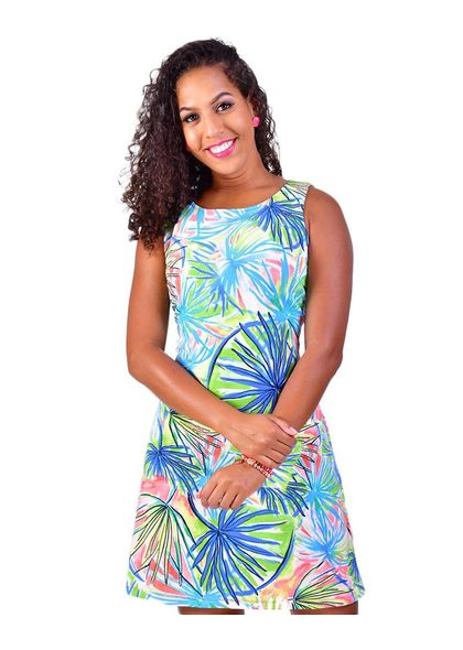 Blossom Palm Print Sleeveless Dress