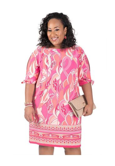 Printed ITY Dress with Split 3/4 Sleeves