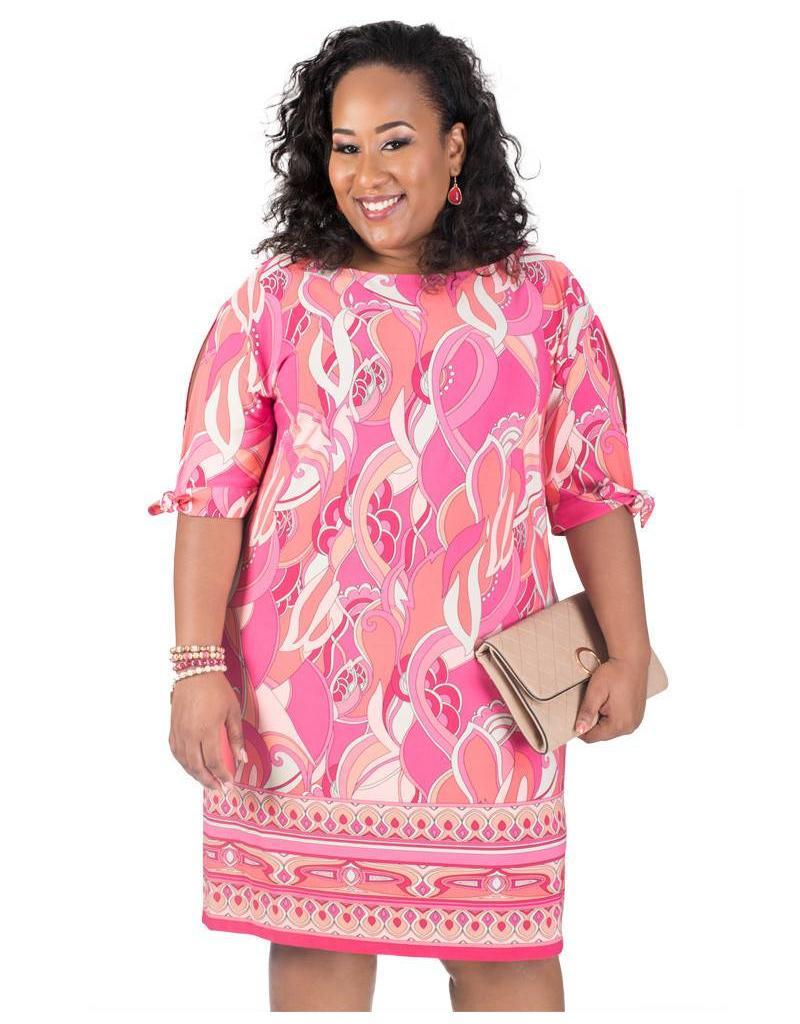 Printed ITY Dress with Split 3/4 Sleeves