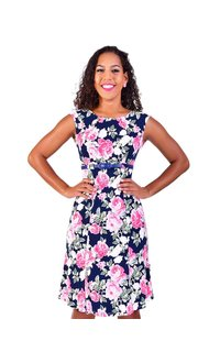 Shelby & Palmer IMPERIA-Rose Puff Print Cap Sleeve Fit and Flare with Belt