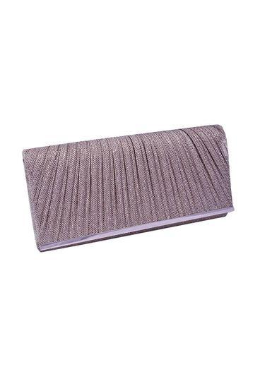 Bag-glitter w/pleats on flap
