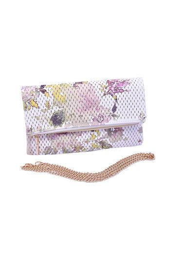 Miztique Bag - Fashion Soft Flower Print Clutch w/Chain